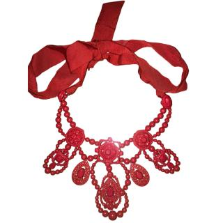 Lanvin Red Collar Ribbon Necklace