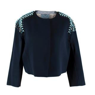 Prada Navy Satin Blue Crystal Embellished Short Jacket