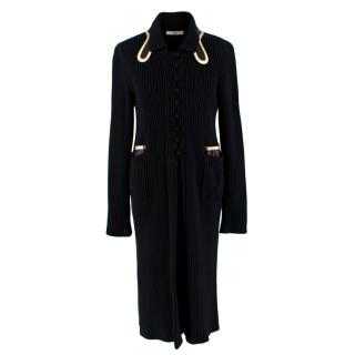 Prada Black Ribbed Knit Longline Cardigan with Gold Leather Trim