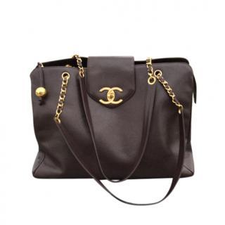 Chanel Brown Grained Calfskin XL Vintage Weekend Bag