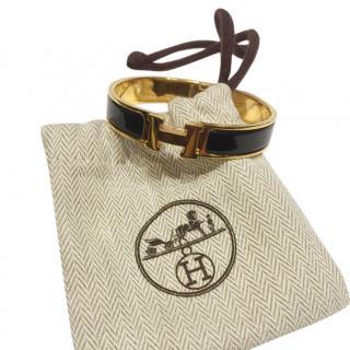 Hermes Black Enamel Narrow Clic H Bracelet GHW
