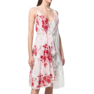 Ermanno Scervino Asymmetric Floral Dress In Pink/Red
