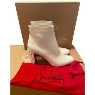 Christian Louboutin White Studded Suze Folk 85 Ankle Boots