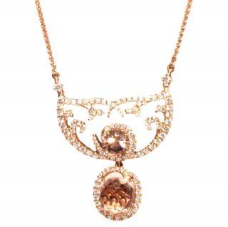 William & Son Morganite Diamond Rose Gold Pendant Necklace