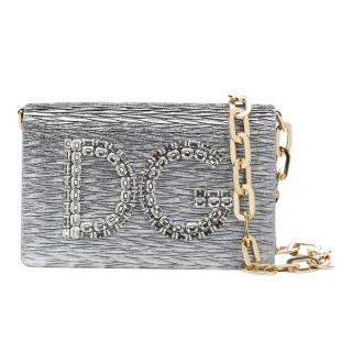 Dolce & Gabbana DG Girls Crystal Embellished Silver Crossbody Bag