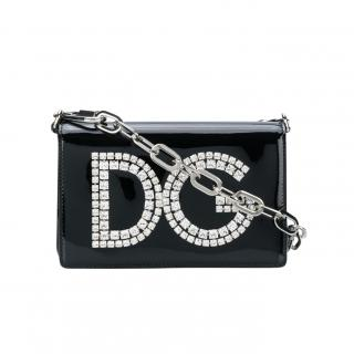Dolce & Gabbana DG Girls Crystal Patent Black Crossbody Bag