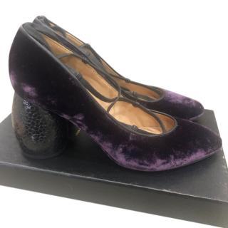 Dries Van Noten Purple Lace-Up Velvet Pumps with Sculpted Heel