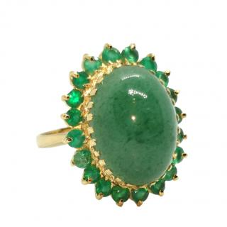 Bespoke 18ct Yellow Gold Emerald & Jade Cocktail Ring