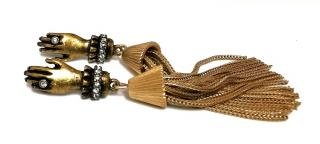 Lulu Frost Gold Tone Hand Tassel Earrings