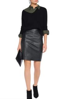 Belstaff Black Leather Panelled Taverham Skirt