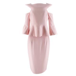 Safiyaa Pale Pink Cold Shoulder Peplum Skirt Suit