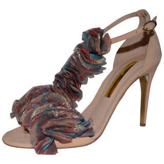 Rupert Sanderson Rio Bonito Ruffle Suede Sandals