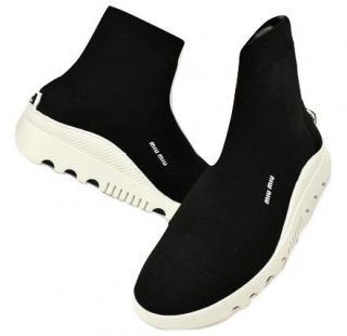 Miu Miu Black & White Knit Sock Ankle Boots