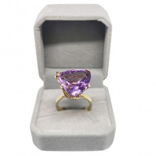 Bespoke Natural Amethyst 14ct Yellow Gold Cocktail Ring