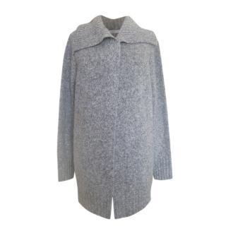 Max Mara Melange Grey Wool Open Cardigan