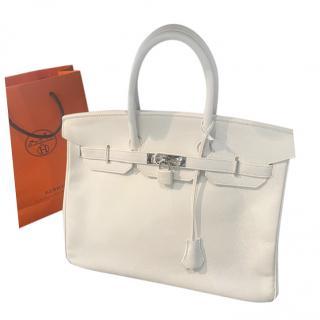 Hermes Epsom Leather White Birkin 35 PHW