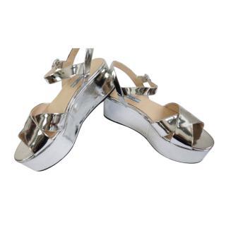 Prada Metallic Silver Platform Sandals