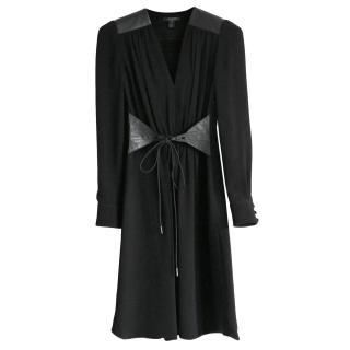 Louis Vuitton Lambskin Trimmed Crepe Dress