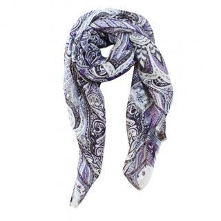 Etro Linen & Silk Paisley Print Scarf