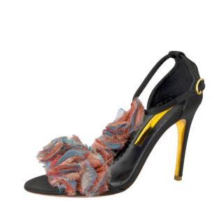Rupert Sanderson Rio Bonito Ruffle Satin Sandals