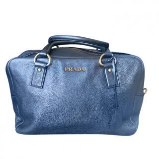 Prada Blue Leather Bowler Tote Bag
