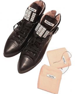 Miu Miu Black Leather Crystal Buckle Ankle Boots