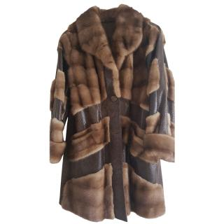 Bespoke Mink Fur Leather Panelled Coat