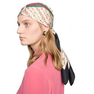 Gucci rose print logo silk scarf