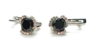 Bespoke black and white diamond earrings