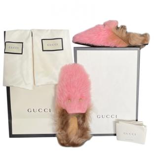Gucci pink shearling Princetown flats  New in box