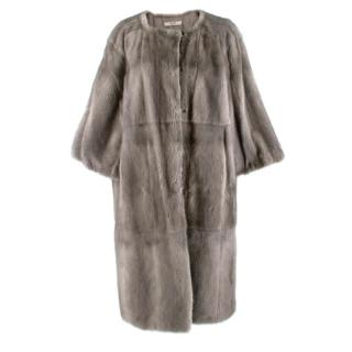 Prada Soft and lightweight grey mink Longline Coat