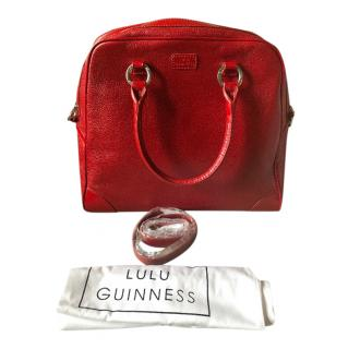 Lulu Guinness Red Pebbled Leather Tote Bag
