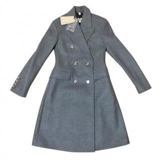 Burberry Grey Virgin Wool Double Breasted Coat