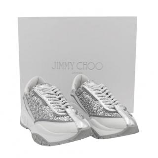 Jimmy Choo Silver Glitter Raine Calfskin Sneakers