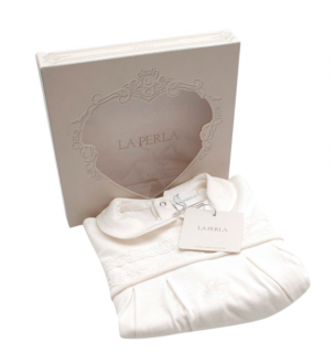 La Perla Ivory Soft Cotton Embroidered Baby Grow