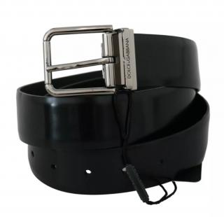 Dolce & Gabbana Glossy Black Leather Belt