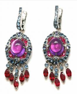 Niquesa Ruby, Diamond, Amethyst and Aquamarine earrings