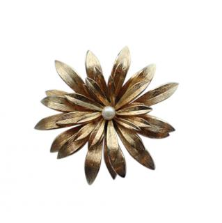 Christian Dior Vintage Gold Plated Pin Brooch with Seed Pearl