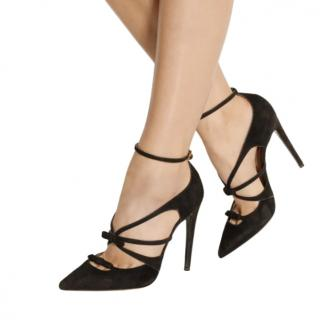 Tabitha Simmons Black Suede Bow Pumps