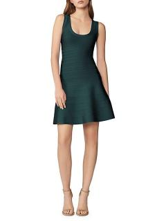 Herve Leger Green Stretch Knit Bandage Dress