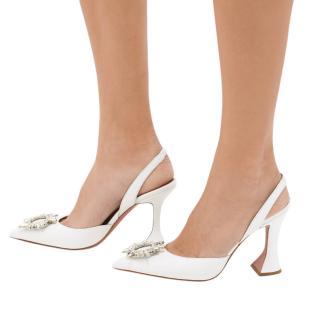 Amina Muaddi Crystal Embellished White Satin Begum Sandals - SOLD OUT