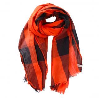 Burberry Orange & Black Plaid Wool Scarf