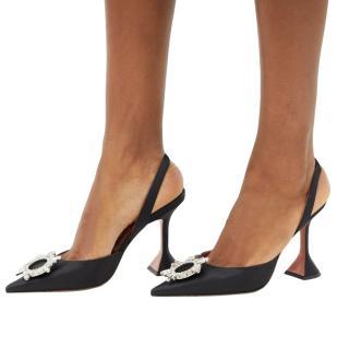 Amina Muaddi Crystal Embellished Black Satin Begum Sandals - SOLD OUT
