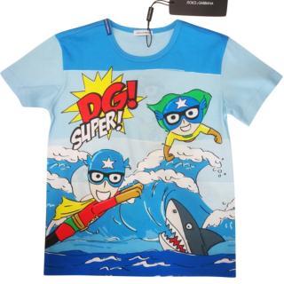 Dolce & Gabbana Blue DG Superhero Print T-Shirt
