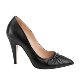 Gucci Black Ruched Leather Charlotte Pumps 39