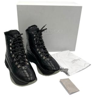 Jimmy Choo Croc Embossed Inca Shearling Lined Lace-Up Boots
