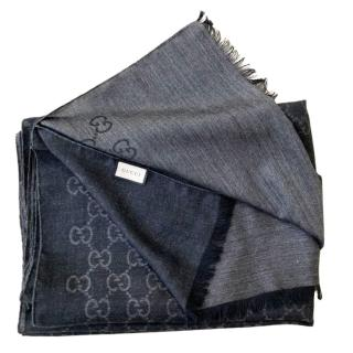 Gucci Black Wool & Silk Blend Supreme Monogram Scarf