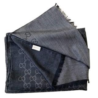 Gucci Black Wool & Silk Blend Supreme Monogram Scarf