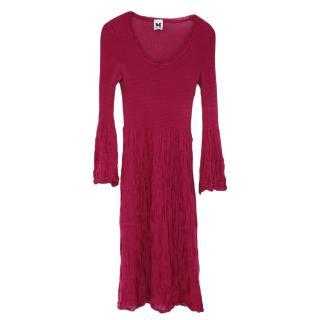 M Missoni Burgundy Merino Wool Blend Dress