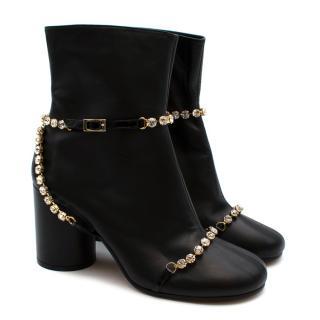 Maison Martin Margiela Black Leather Crystal Embellished Ankle Boots